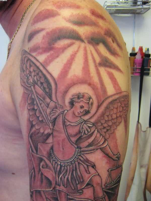Fantastic Warrior Angel Tattoo On Biceps