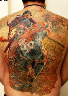 Fantasy Warrior Horse Back Piece Tattoo For Men