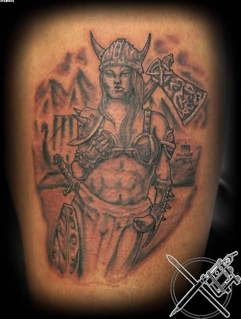 Female Viking Warrior With Axe Tattoo