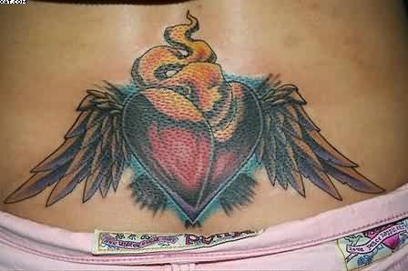 Fire And Flame Heart Tattoos On Waist