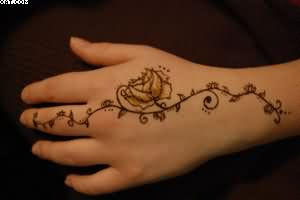 Flowered Vine Tattoo For Hand