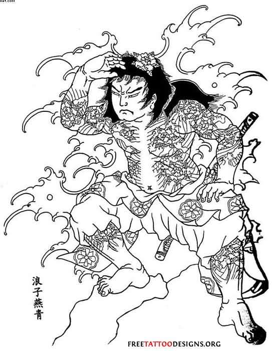 Free Samurai Warrior And Wave Tattoo Design