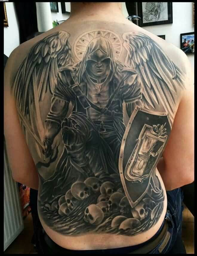Full Back Grey Ink Angel Warrior Tattoo For Men