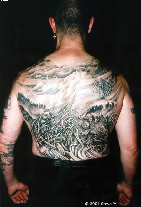 Full Back Grey Ink Warriors Tattoos For Men