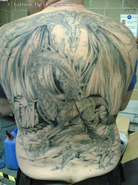 Full Back Knight Fighting Dragon Tattoos