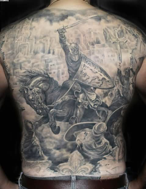 Full Back Realism Warrior Attack Tattoo For Men