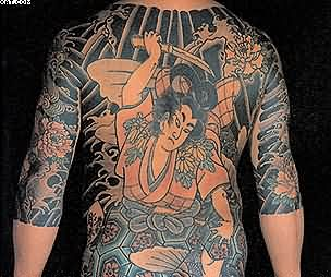 Full Back Traditional Japanese Warrior Tattoo