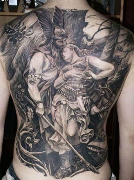 Full Back Viking Warrior With Lady Tattoo