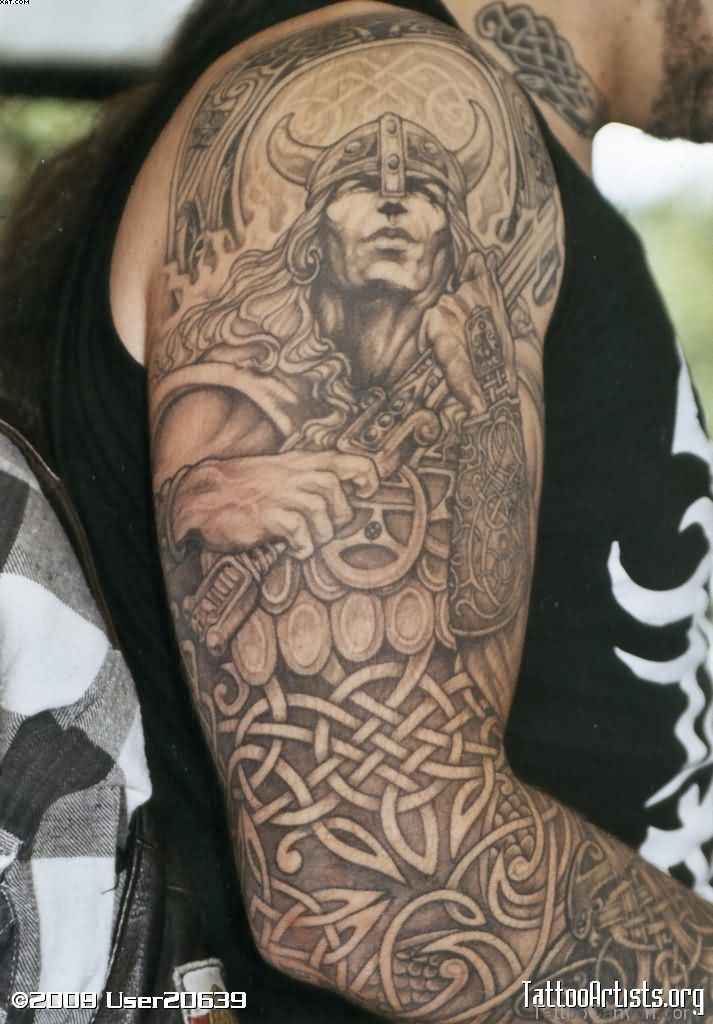 Full Sleeve Celtic Warriors Tattoos