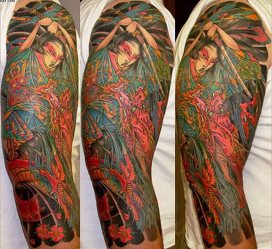 Full Sleeve Japanese Lady Warrior And Dragon Tattoos