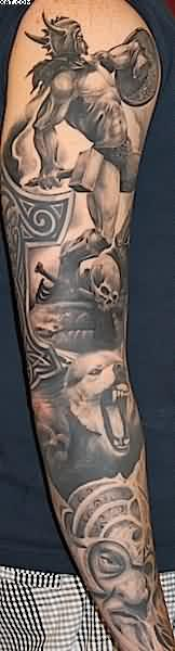 Full Sleeve Warrior And Bear Portrait Tattoos