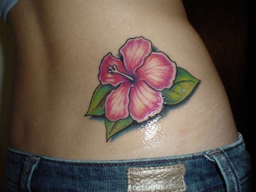 Glowing Hibiscus Flower Tattoo For Waist