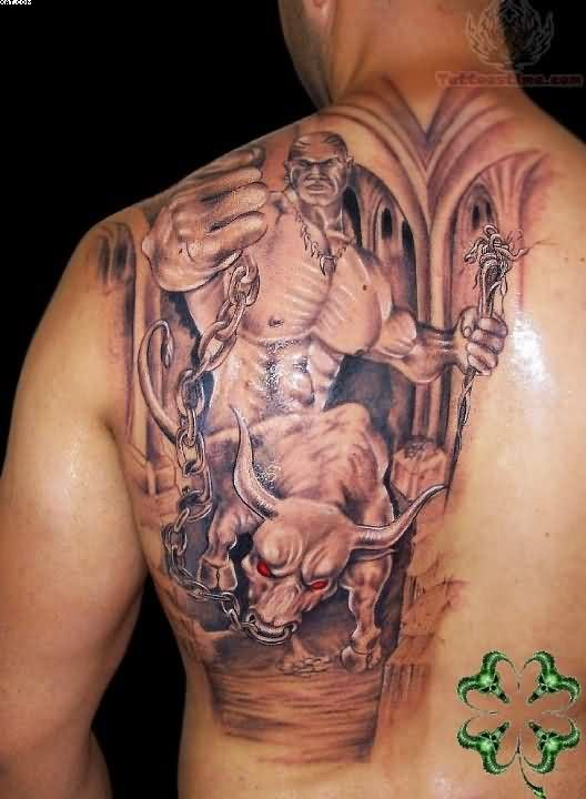 Glowing Warrior Tattoo On Back Of Shoulder