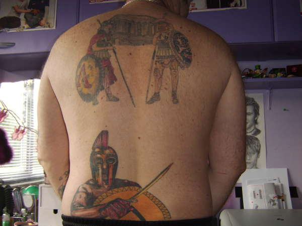 Greek Warriors Tattoos For Back