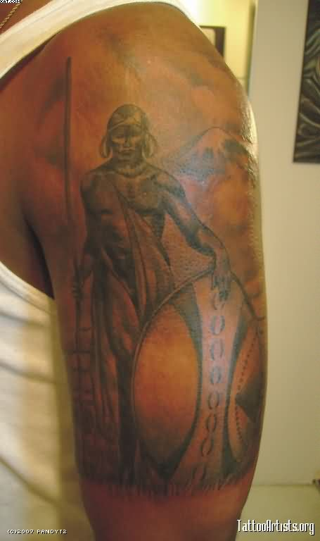 Grey Ink African Warrior Tattoo On Half Sleeve