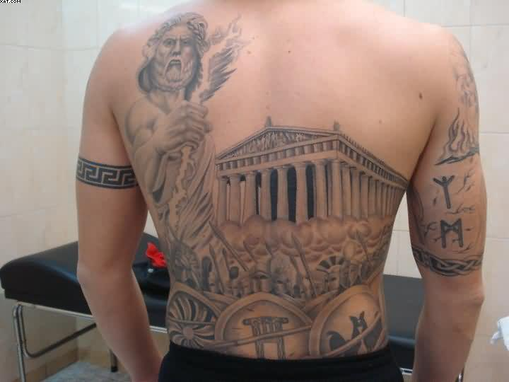 Grey Ink Ancient Greek Warriors Tattoos On Back