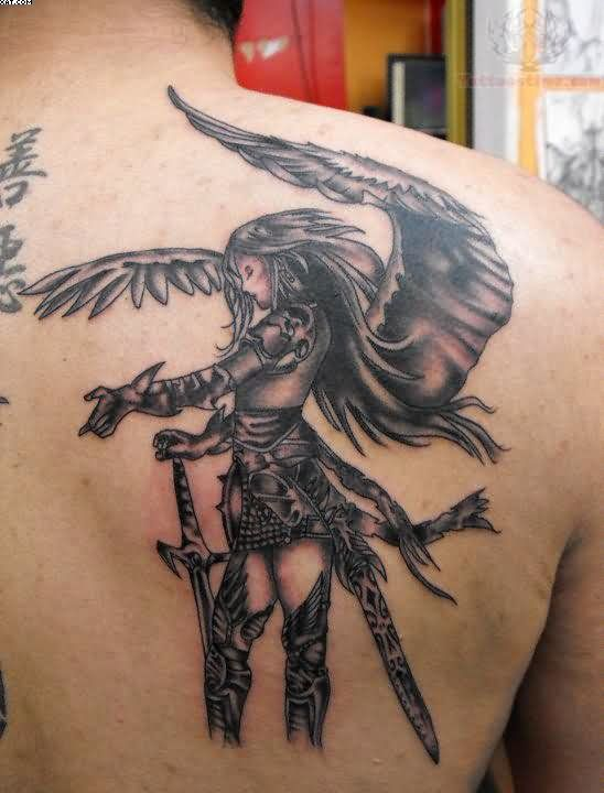 Grey Ink Angel Warrior Tattoo On Back Shoulder