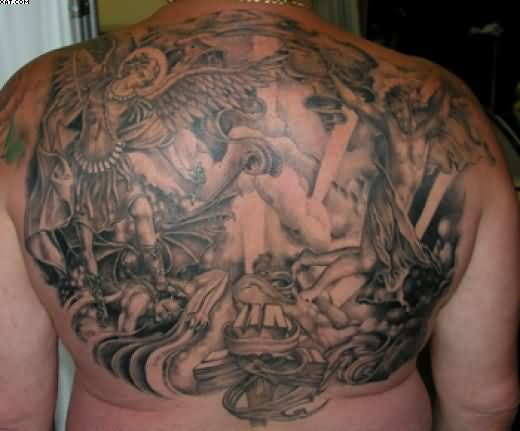 Grey Ink Angel Warriors Tattoos On Back