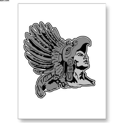 Grey Ink Aztec Warrior Tattoo Card