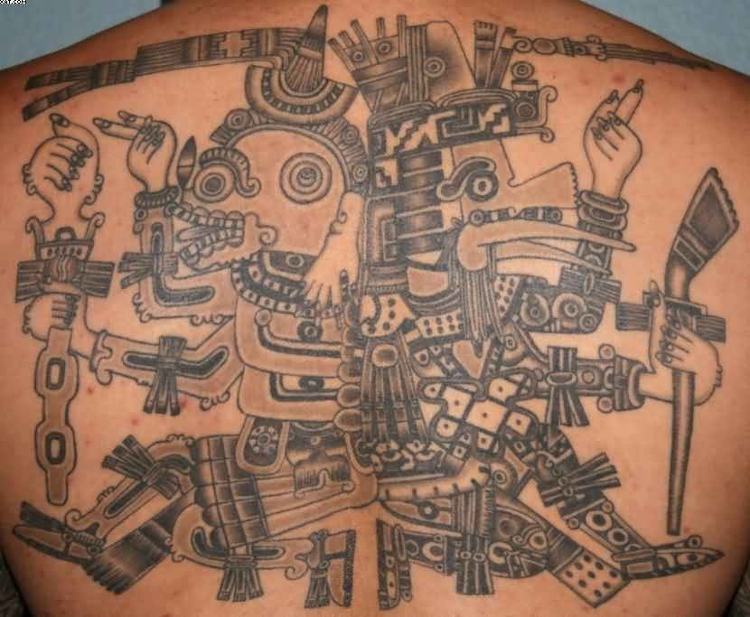 Grey Ink Aztec Warriors Tattoos On Back