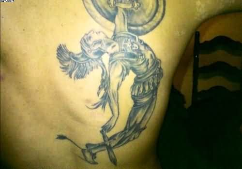 Grey Ink Greek Warrior Tattoo For Men