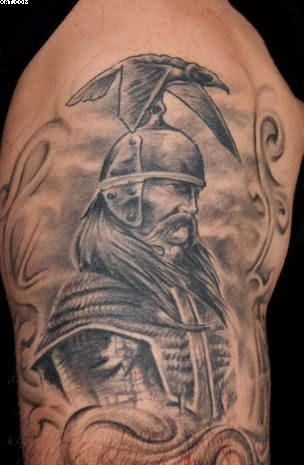 Grey Ink King Warrior Tattoo For Biceps