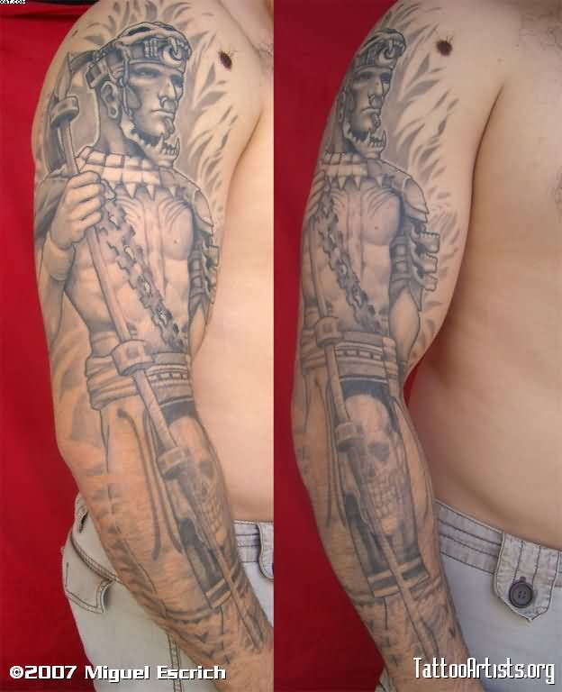 Grey Ink Mayan Warrior Sleeve Tattoos