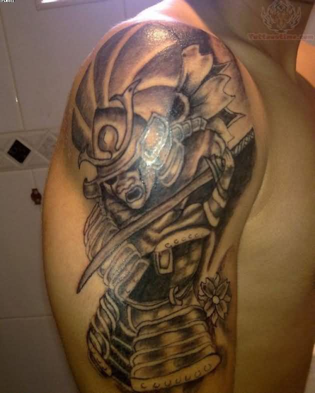 Grey Ink Samurai Warrior Attack Tattoo On Arm
