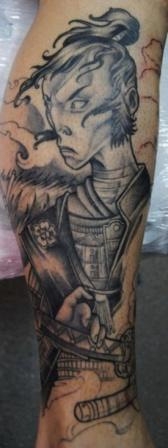 Grey Ink Samurai Warrior Tattoo For Leg