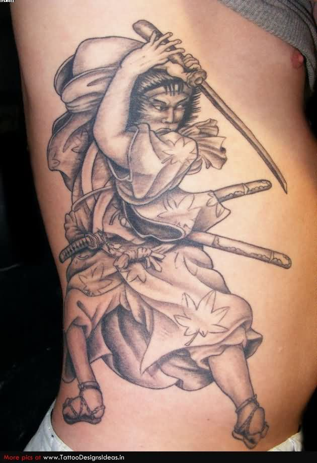 Grey Ink Samurai Warrior Tattoo On Ribs