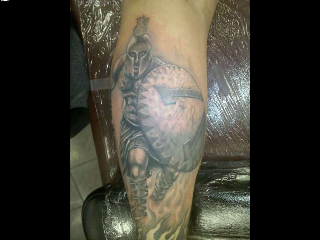 Grey Ink Spartan Warrior Tattoo For Leg