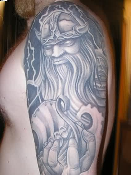 Grey Ink Viking Warrior Tattoo For Arm