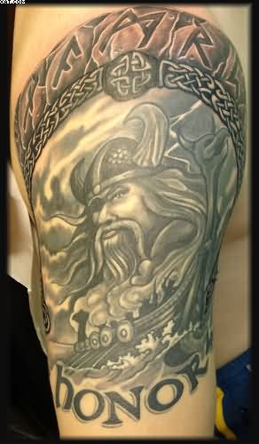 Grey Ink Viking Warrior Tattoo Sketch