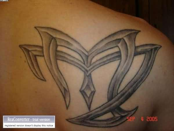Grey Ink Virgo Zodiac Sign Tattoo
