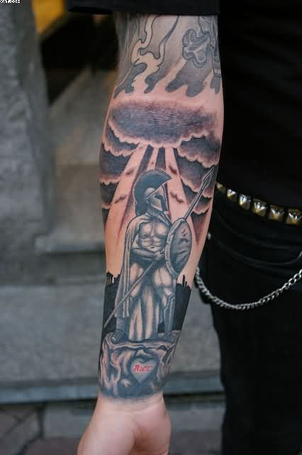 Grey Ink Warrior Greek Tattoo On Right Forearm