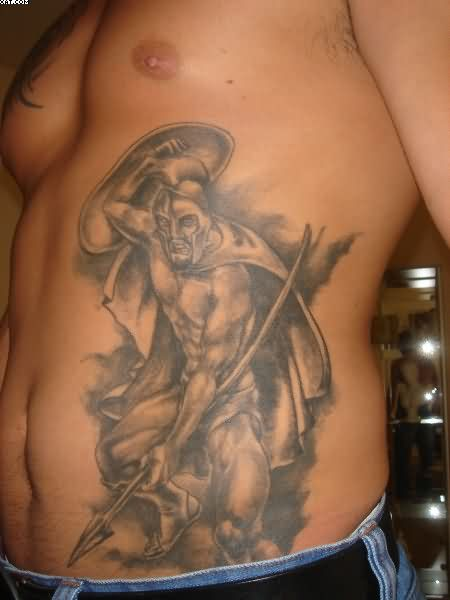 Grey Ink Warrior Tattoo On Waist