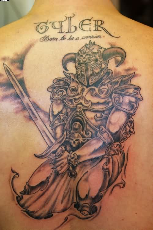 Grey Ink Warrior With Sword Tattoo On Back