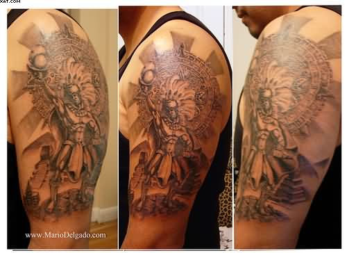 Half Sleeve Aztec Warrior Tattoos For Men
