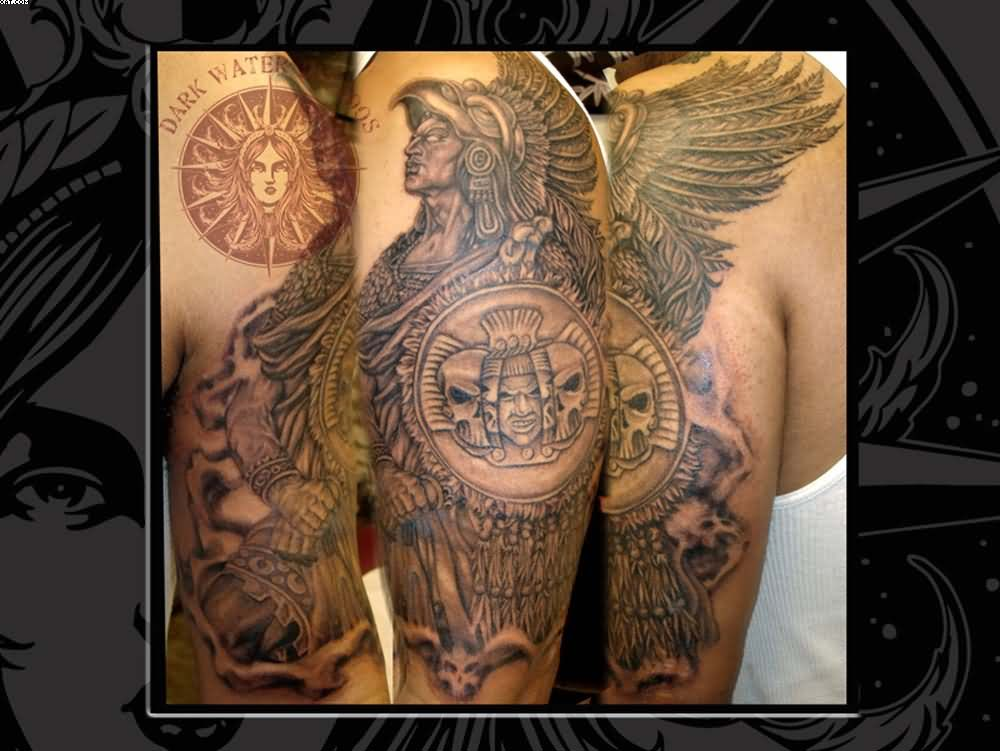 Half Sleeve Aztec Warrior Tattoos