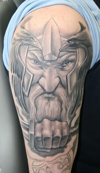Half Sleeve Grey Ink Viking Warrior Face Tattoo