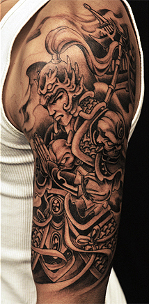 Half Sleeve Grey Ink Warrior Tattoos For Men
