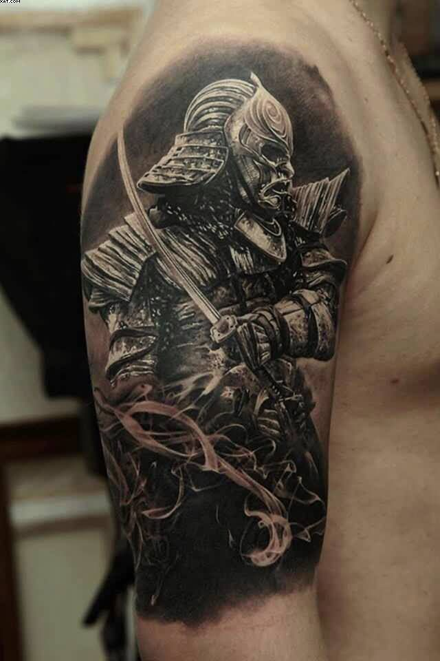 Half Sleeve Realistic Spartan Warrior Tattoo