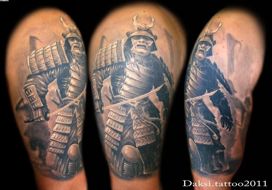 Half Sleeve Realistic Warrior Tattoos