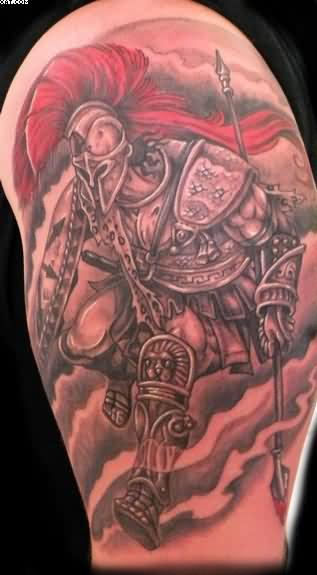 Half Sleeve Spartan Warrior Tattoo