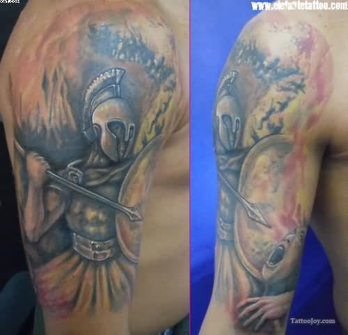 Half Sleeve Spartan Warriors Tattoos For Men