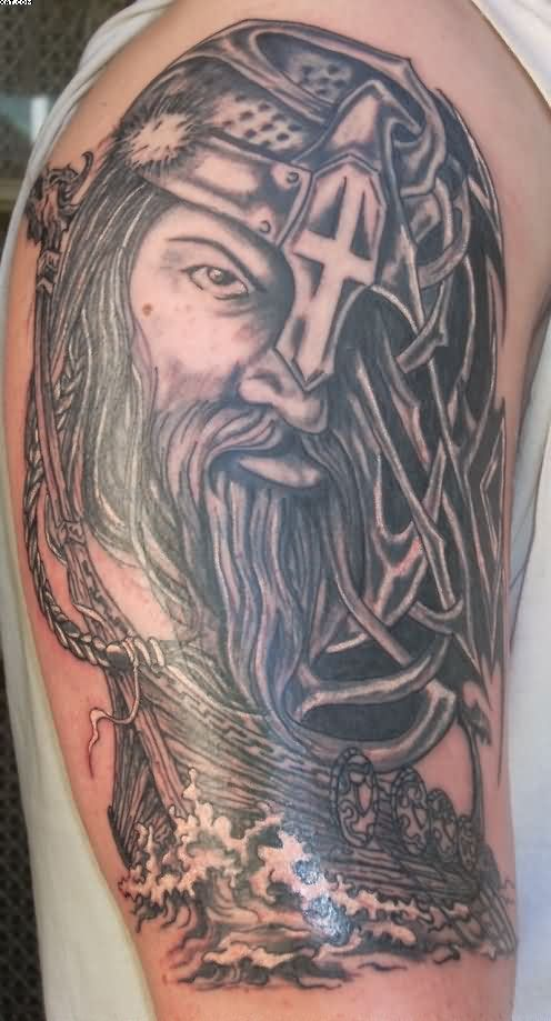 Half Sleeve Viking Warrior Head Tattoo For Men