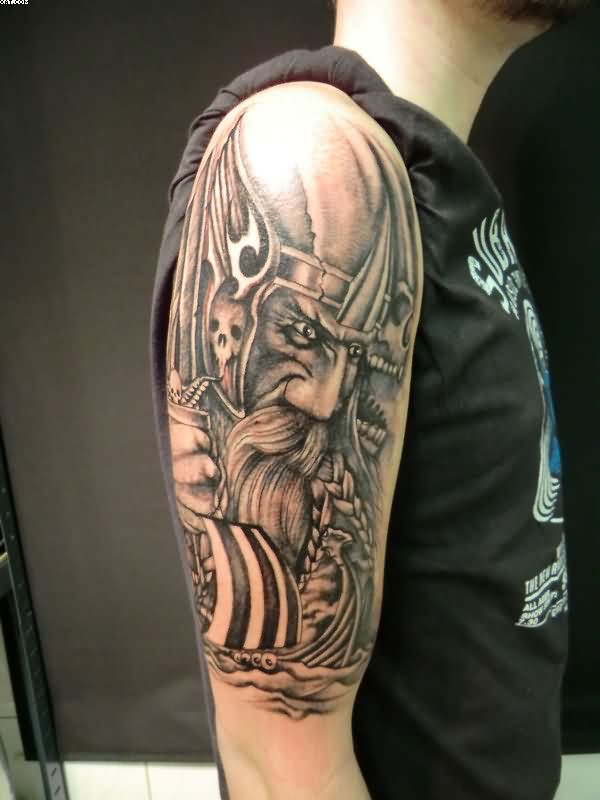 Half Sleeve Viking Warrior Tattoo For Guys