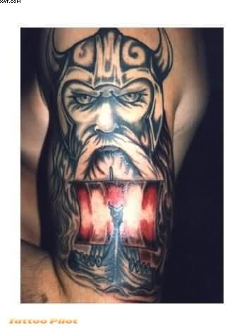 Half Sleeve Viking Warrior Tattoo For Men