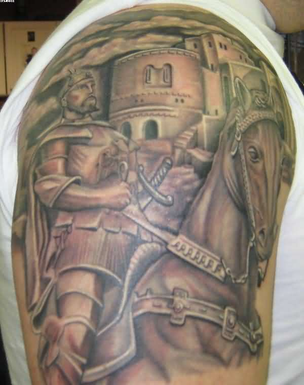 Impressive Knight Armor Tattoo On Shoulder