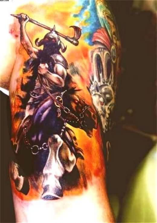 Impressive Warrior Tattoo On Biceps